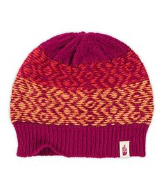 The North Face Tribe N True Beanie Dramatic PlumMelon Red OS -- Click image for more details. (This is an affiliate link) North Face Women, The North Face, Winter Hats For Men, Tribal Prints, Women Brands, Beanie Hats, Knitted Hats, Knitting, Red