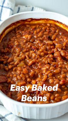 Simple Baked Beans Recipe, Homemade Baked Beans, Baked Bean Recipes, Crockpot Recipes, Cooking Recipes, Baked Beans Recipe With Molasses, Sweet Beans Recipe, Healthy Baked Beans, Easy Bean Recipes