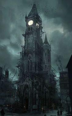 Gothic Tower which actually looks a little bit like the darker twin of Big Ben - drawing reference for a dark or even steampunk setting Gothic Horror, Horror Art, Fantasy Places, Fantasy World, Steampunk Kunst, Steampunk Clock, Steampunk Artwork, Gothic Steampunk, Victorian Gothic