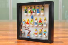 My brick store: how i display my lego simpsons minifigure. Lego Display Case, Lego Minifigure Display, Toy Display, Lego Simpsons, Lego 3d, Brick Store, Lego Wall, Lego Pictures, Ikea Frames