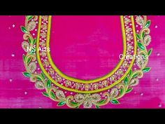 Aari Work With Load & Beads Load Stitch Mirror Blouse Design, Hand Work Blouse Design, Simple Blouse Designs, Bridal Blouse Designs, Handmade Embroidery Designs, Embroidery Neck Designs, Bead Embroidery Patterns, Hand Embroidery Flowers, Maggam Work Designs