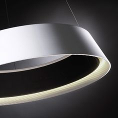 RINGOFIRE: LED pendant, with a polyethylene shade finished in white with a black inner shade, available in 2 sizes. Design by FRANCESC VILARO