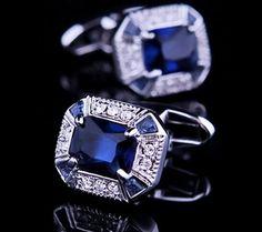 Crystal Cufflinks with Large Blue Zircon