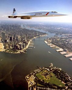 Concorde over New York with Twin Towers Photo Adrian Meredith