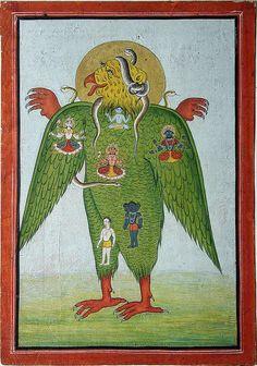 Garuda with Siva's snakes and Hindu divinities in his plumage Mughal Paintings, Indian Paintings, Abstract Paintings, Oil Paintings, Abstract Oil, Shiva Art, Krishna Art, India Art, Hindu Deities