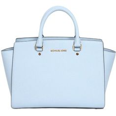 MICHAEL MICHAEL KORS Selma Saffiano Leather Top Handle Bag - Light... (2.715 VEF) ❤ liked on Polyvore featuring bags, handbags, shoulder bags, purses, accessories, blue, light blue, purse shoulder bag, michael michael kors handbags y michael michael kors shoulder bag