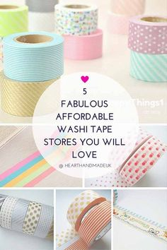 Adorable washi tapes make your desk & planner much more fun. Discover 5 super affordable washi tape stores on Etsy - you will love them! Do you use washi tapes? Washi Tape Planner, Washi Tape Diy, Masking Tape, Washi Tapes, Diy Washi Tape Storage, Washi Tape Notebook, Washi Tape Journal, Duct Tape Crafts, Tapas