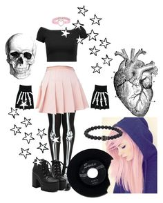 """""""Pastel Pink and Black """"Emo""""/""""Pastel Goth"""""""" by moonstar-kookie ❤ liked on Polyvore featuring Alice + Olivia and Simon Carter"""