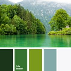 Breath of green forest that surrounds the mountain lake, shrouded with white color of clouds creates color solution for eco-oriented design. Color of green apple helps to place bright accents and emphasize the essential elements. Color of mountain lake allows to impart depth to niches and arches.