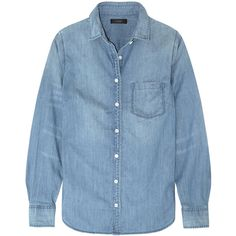 J.Crew Always cotton-chambray shirt (€91) ❤ liked on Polyvore featuring tops, light denim, cotton chambray shirt, loose fit tops, shirt tops, loose fitting shirts and cut loose tops