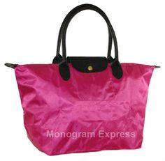 Visit our link for a complete list of Colors and Sizes https://www.etsy.com/shop/MonogramExpress?section_id=12065089  Great for every day use, travel or the night out. Folds for easy storage. Made from a durable micro-blend with a zippered closure and 1 inside pocket.  Opened 19 x 12 Folded 9.5 x 6   Select the following from the drop down menus: * Your Font Choice * Your choice of thread color  When you check out, please make sure to leave me the following in notes section:  * Personalized…