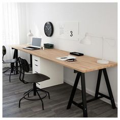 GERTON table – beech, black and white – IKEA Germany – Bedroom Inspirations Family Office, Guest Room Office, Home Office Space, Home Office Desks, Office Furniture, Office Decor, Office Ideas, Kids Office, Basement Office