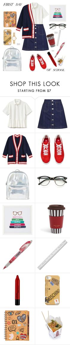 """First Day of School"" by soranamikaze ❤ liked on Polyvore featuring Lacoste, Topshop, Accessorize, PBteen, Henri Bendel, Paper Mate, Forever 21, Moschino, Skagen and firstdayofschool"