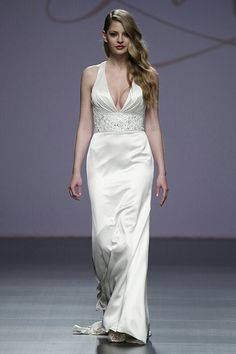 Ultra Sexy Satin Column Gown Featuring Halter Bodice With Plunging Neckline, & Embellished Band At Natural Waist ---- Gown by Justin Alexander^^^^