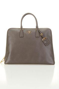 Prada Saffino Leather Top Handle Bag In Graphite