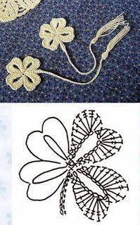 crochet clover leaf diagram The Effective Pictures We Offer You About tricot et crochet A quality pi Marque-pages Au Crochet, Crochet Books, Crochet Diagram, Crochet Chart, Thread Crochet, Love Crochet, Irish Crochet, Crochet Stitches, Crochet Coaster