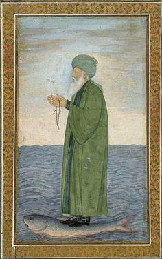 Muslim sage Al-Khizr as shown in a Mughal era manuscript miniature. Kept in the Victoria and Albert Museum, London, inventory number Mughal Paintings, Islamic Paintings, Koi, Green Knight, Epic Of Gilgamesh, Mystique, Green Man, Religious Art, Islamic Art