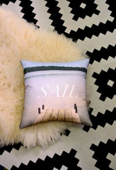 SAIL - Dock on the Lake Landscape Printed Fabric Decorative Pillow on Etsy, $40.00