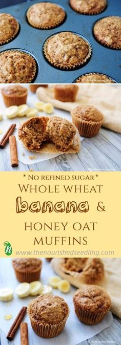Super simple and full of fiber, oats and potassium, these muffins are free of refined sugar, sweetened only with bananas and honey.