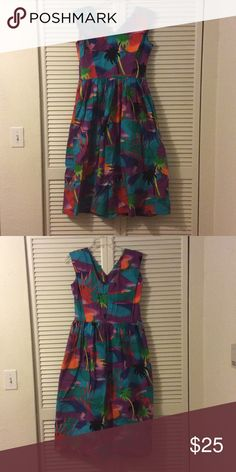 Hawaiian dress Hawaiian motive sleeveless summer dress. Flowers palm trees unkn Dresses
