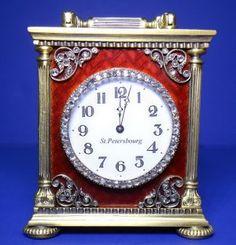 RUSSIAN SILVER ENAMEL GUILLOCHE CLOCK