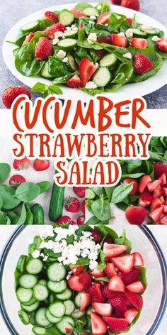Enjoy the fresh flavors of Summer in this delicious Cucumber Strawberry Salad with homemade balsamic Dijon dressing. Baby spinach, baby cucumbers, fresh mint, feta cheese and strawberries are tossed together in this light and healthy salad recipe. Fresh Salad Recipes, Healthy Salad Recipes, Whole Food Recipes, Diet Recipes, Healthy Snacks, Vegetarian Recipes, Healthy Eating, Cooking Recipes, Spinach Salad Recipes