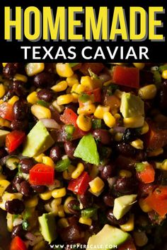 Texas caviar is a dip in only the loosest of terms since the ingredients are all simply chopped – think more chunky salsa without the liquid. It's simply a mishmash of eight ingredients, chopped, and stirred together. #texascaviar #salsa