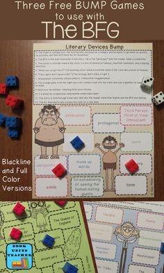 Three Free BUMP Games to use with The BFG to help teach symbols, characters, and literary devices.