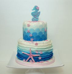 Sea horse and star fish birthday cake