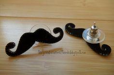 shrinky dink mustache earrings by greenbeanscrafterole, via Flickr