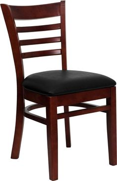 HERCULES Series Mahogany Finished Ladder Back Wooden Restaurant Chair with Black Vinyl Seat XU-DGW0005LAD-MAH-BLKV-GG by Flash Furniture