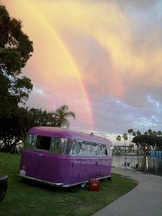 Loving this Purple vintage trailer and the accompanying rainbow!