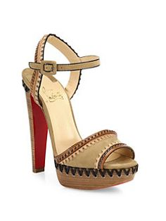 Christian Louboutin - Trepi Suede & Leather Ankle-Strap Sandals