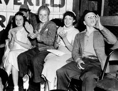 Judy Garland, Jackie Cooper, Diane Lewis and Mickey Rooney at a ball game in Hollywood, July 24, 1936.