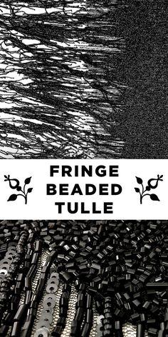 Black Fringe & Sequin Beaded Tulle #Apparel #Glamour #Elegant www.bandjfabrics.com