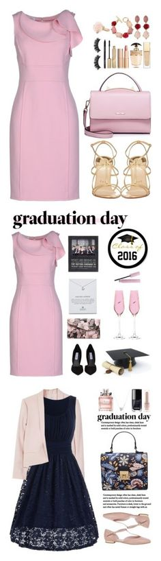 """graduation outfit ideas"" by moreblessings ❤ liked on Polyvore featuring Oscar de la Renta, WithChic, Christian Louboutin, Stila, Prada, Arbonne, Clarins, Urban Expressions, Dogeared and Portmeirion"