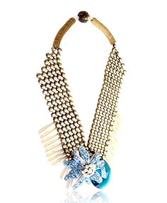Tataborello Blue Crystal Drop Necklace