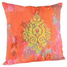 Faux silk pillow with a damask motif and beaded detail.   Product: PillowConstruction Material: Faux silk