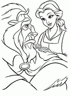 Cuentos infantiles: La Bella y la Bestia para colorear. Dibujos para imprimir. Beauty and the Beast.