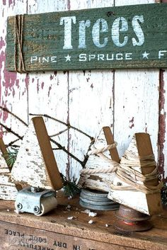 Make these charming string wrapped wood Christmas trees with junk stands with cute Trees sign in minutes! With Funky Junk's Old Sign Stencils wood crafts crafts design crafts diy crafts furniture crafts ideas Christmas Tree Stencil, Christmas Wood Crafts, Wood Christmas Tree, Primitive Christmas, Christmas Signs, Christmas Pictures, Christmas Projects, Winter Christmas, All Things Christmas