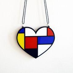 Mondrian Style Retro Heart Oversized Necklace