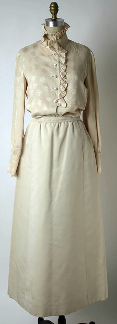 Evening ensemble Valentino  (Italian, born 1932) Date: spring/summer 1968 Culture: Italian Medium: silk, metallic thread, glass, rhinestones Dimensions: Length at CB (a): 23 1/2 in. (59.7 cm) Length (b): 39 1/2 in. (100.3 cm) Length (c): 19 3/4 in. (50.2 cm) Credit Line: Gift of Joanne T. Cummings, 1976