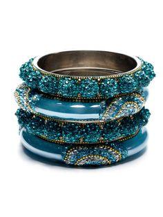 Set Of 4 Turquoise Crystal, Gold Chain, & Resin Bangle Bracelets by Chamak by Priya Kakkar on Gilt.com