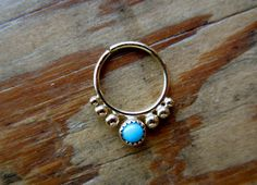 Alpha 18k yellow gold/20g/turquoise by aprilsblissed on Etsy, $85.00
