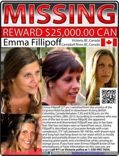 Emma Fillipoff, vanished from the vicinity of the Empress Hotel located in downtown Victoria, British Columbia, Canada. Missing Child, Missing Persons, Lost People, We The People, End The Stigma, Victoria Police, Amber Alert, Health Pictures, The Empress