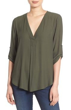 Free shipping and returns on Lush V-Neck Crepe Blouse at Nordstrom.com. Lightweight crepe gives elegant drape to this V-neck blouse with relaxed roll-up sleeves.