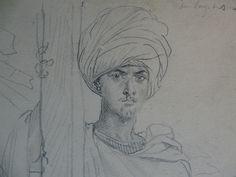 CHASSERIAU Théodore,1846 - Arabe coiffé d'un Turban, debout contre un Arbre - drawing - Détail 04
