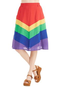 Day Laughter Day Skirt. Your favorite looks always brighten the room with cheer, and this rainbow skirt from Bea  Dot is no exception. #red #modcloth