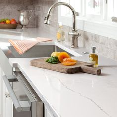 High Gloss and Cambria Matte-- Ella features a lattice of lines and intersections embedded in a marbled dove-gray background. Kitchen Countertop Materials, Kitchen Worktop, Kitchen Countertops, Countertop Options, Kitchen Backsplash, Cambria Quartz Countertops, White Countertops, Granite, Updated Kitchen