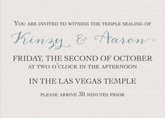 Kinzy and Aaron Sealing Insert Traditional Wedding Invitations, Elegant Wedding Invitations, Las Vegas Temple, Invitation Maker, You Are Invited, Wedding Announcements, Mary, Classic, Derby
